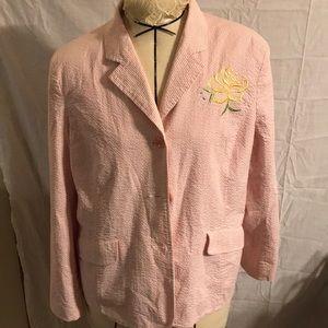 Susan Graver Style Seersucker Button BlazerSize 14